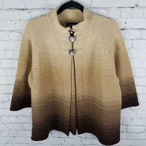 JONES NY | ombre thick knit 3/4 sleeve cardigan